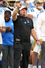 UCLA head coach Chip Kelly calls out to his players during the second half against Stanford in an NCAA college football game Saturday, Sept. 25, 2021, in Stanford, Calif. (AP Photo/Tony Avelar)