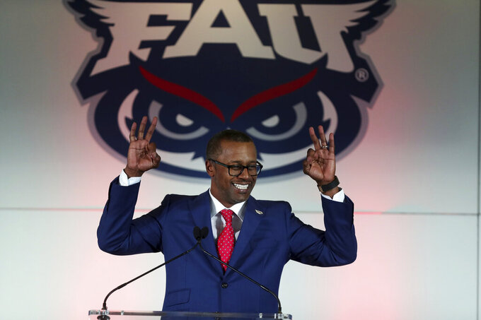 Former Florida State coach Willie Taggart introduced as Florida Atlantic University's, new football head coach during press conference Thursday, Dec. 12, 2019, in Boca Raton, Fla. (Carline Jean/South Florida Sun-Sentinel via AP)