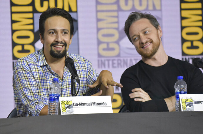Lin-Manuel Miranda, left, and James McAvoy participate in the