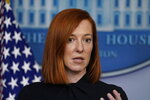 White House press secretary Jen Psaki speaks during a press briefing at the White House, Friday, Jan. 22, 2021, in Washington. (AP Photo/Evan Vucci)