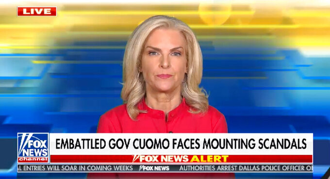 This image provided by Fox News Corp on March 5, 2021, shows Fox weather forecaster Janice Dean, who's become one of New York Gov. Andrew Cuomo's fiercest critics after both of her in-laws died of the coronavirus last spring in elderly care facilities. (Fox News Corp via AP)