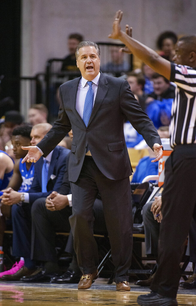 Kentucky coach John Calipari argues a call during the first half of the team's NCAA college basketball game against Missouri on Tuesday, Feb. 19, 2019, in Columbia, Mo. (AP Photo/L.G. Patterson)