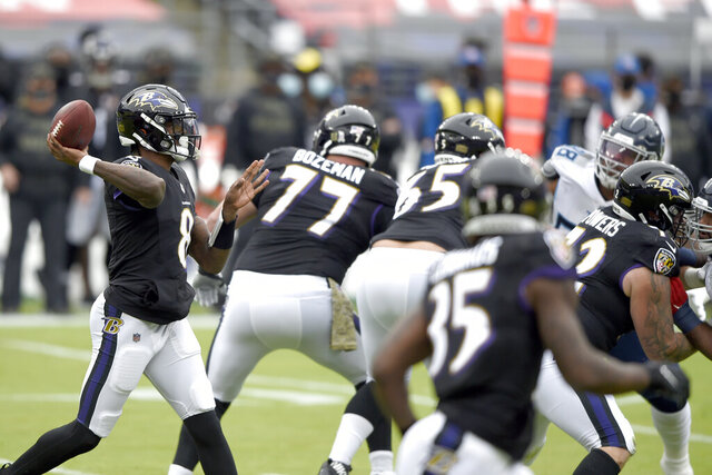 Baltimore Ravens quarterback Lamar Jackson throws a pass against the Tennessee Titans during the first half of an NFL football game, Sunday, Nov. 22, 2020, in Baltimore. (AP Photo/Gail Burton)