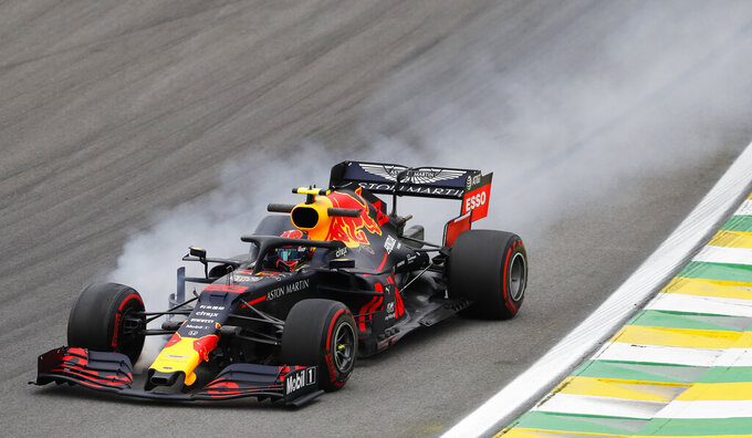Red Bull driver Alexander Albon, of Thailand, steers his car during the second free practice at the Interlagos race track in Sao Paulo, Brazil, Friday, Nov. 15, 2019. (AP Photo/Nelson Antoine)