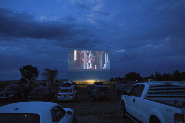 The Fort Union Drive-In in Las Vegas, N.M, is shown as an audience watches the movie