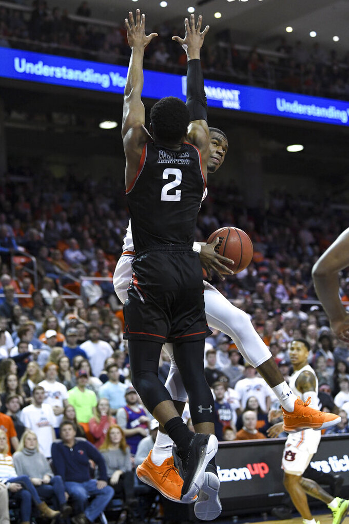 Cal State Northridge guard Elijah Harkless (2) defends as Auburn guard Devan Cambridge looks for a shot during the second half of an NCAA college basketball game Friday, Nov. 15, 2019, in Auburn, Ala. (AP Photo/Julie Bennett)