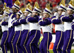 Members of the Washington band perform before the Pac-12 Conference championship NCAA college football game between Washington and Utah in Santa Clara, Calif., Friday, Nov. 30, 2018. (AP Photo/Tony Avelar)