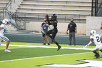 Hawaii wide receiver Jared Smart (23) makes catch at the goal line for a touchdown during the first half of the team's NCAA college football game against Portland State, Saturday, Sept. 4, 2021, in Honolulu. (AP Photo/Darryl Oumi)