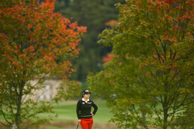 FILE - Sei Young Kim, of South Korea, waits on the 16th green during the final round at the KPMG Women's PGA Championship golf tournament at the Aronimink Golf Club in Newtown Square, Pa., in this Sunday, Oct. 11, 2020,  file photo. Because of the pandemic, three of the seven golf majors for men and women were held in the fall. (AP Photo/Matt Slocum, File)