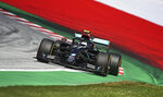Mercedes driver Valtteri Bottas of Finland steers his car during the Styrian Formula One Grand Prix at the Red Bull Ring racetrack in Spielberg, Austria, Sunday, July 12, 2020. (Joe Klamar/Pool via AP)