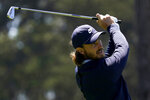 Tom Fleetwood of England, watches his tee shot eighth hole during the second round of the PGA Championship golf tournament at TPC Harding Park Friday, Aug. 7, 2020, in San Francisco. (AP Photo/Jeff Chiu)