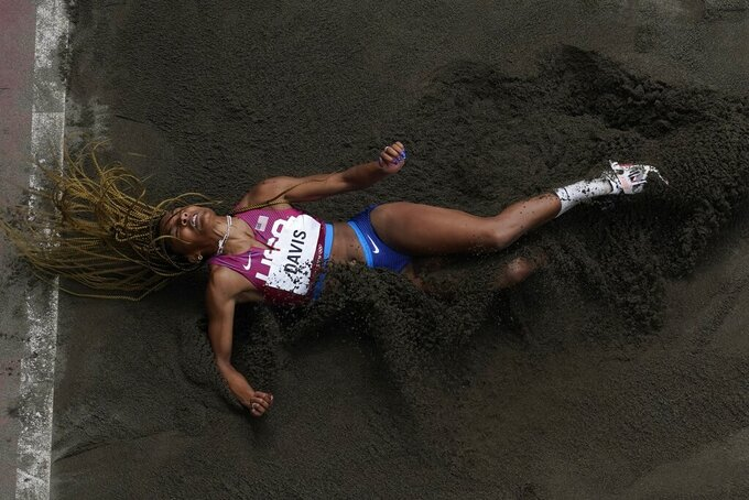 Tara Davis, of United States, competes during the finals of the women's long jump at the 2020 Summer Olympics, Tuesday, Aug. 3, 2021, in Tokyo. (AP Photo/Morry Gash)