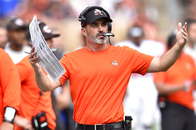 Cleveland Browns head coach Kevin Stefanski reacts during the second half of an NFL football game against the Chicago Bears, Sunday, Sept. 26, 2021, in Cleveland. (AP Photo/David Richard)