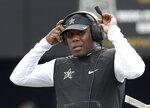 Vanderbilt head coach Derek Mason watches from the sideline in the second half of an NCAA college football game against Florida, Saturday, Oct. 13, 2018, in Nashville, Tenn. Florida won 37-27. (AP Photo/Mark Humphrey)
