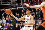 Stanford forward Spencer Jones (14) passes during the first half of the team's NCAA college basketball game against Oregon State on Thursday, Jan. 30, 2020, in Stanford, Calif. (AP Photo/John Hefti)