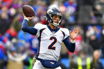 Denver Broncos quarterback Brandon Allen (2) passes against the Buffalo Bills during the first quarter of an NFL football game, Sunday, Nov. 24, 2019, in Orchard Park, N.Y. (AP Photo/Adrian Kraus)