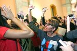 Cynthia Vermillion chants back while protesting during the Ohio House of Representatives meeting at the Ohio Statehouse in Columbus, Ohio on Wednesday, April 10, 2019. The House members voted in the controversial