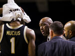 Wake Forest head coach Danny Manning talks to his players during a timeout in the second half of an NCAA college basketball game against Notre Dame, Wednesday, Jan. 29, 2020, in South Bend, Ind. Notre Dame won 90-80. (AP Photo/Robert Franklin)
