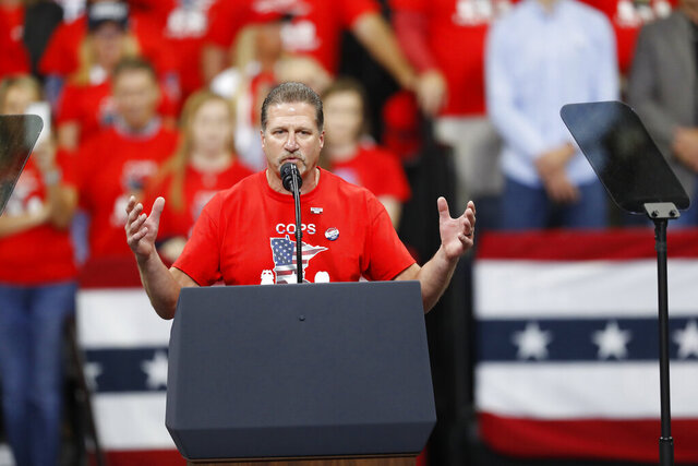 FILE - In this file photo from Thursday, Oct. 10, 2019, Lt. Bob Kroll, president of the Police Officers Federation of Minneapolis speaks at a rally for President Donald Trump in Minneapolis. The union that represents Minneapolis police officers is trying to recruit former cops to work as
