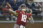 Washington State quarterback Jarrett Guarantano throws a pass during the first half of the team's NCAA college football game against Utah State, Saturday, Sept. 4, 2021, in Pullman, Wash. (AP Photo/Young Kwak)