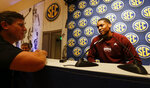 Mississippi State's Tyson Carter speaks during the Southeastern Conference NCAA college basketball media day, Wednesday, Oct. 16, 2019, in Birmingham, Ala. (AP Photo/Butch Dill)