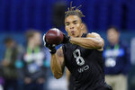 FILE - In this Feb. 27, 2020, file photo, Notre Dame wide receiver Chase Claypool runs a drill at the NFL football scouting combine in Indianapolis. Claypool was selected by the Pittsburgh Steelers in the second round of the NFL football draft Friday, April 24, 2020. (AP Photo/Michael Conroy, File)