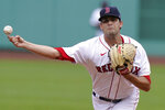 Boston Red Sox's Andrew Triggs delivers a pitch against the Toronto Blue Jays in the first inning of a baseball game, Sunday, Sept. 6, 2020, in Boston. (AP Photo/Steven Senne)
