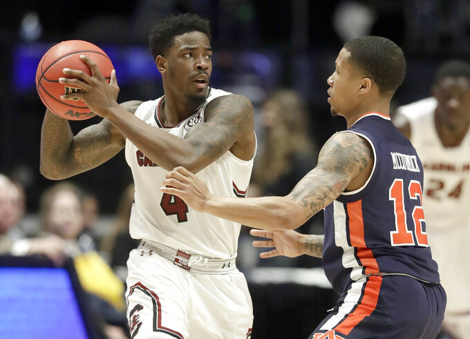 No. 22 Auburn beats South Carolina 73-64 in SEC quarterfinal