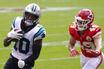 Carolina Panthers wide receiver Curtis Samuel (10) runs past Kansas City Chiefs free safety Daniel Sorensen (49) to score during the first half of an NFL football game in Kansas City, Mo., Sunday, Nov. 8, 2020. (AP Photo/Orlin Wagner)