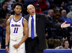 DePaul coach Dave Leitao, right, talks to guard Eli Cain during the second half of the team's NCAA college basketball game against Butler, Wednesday, Jan. 16, 2019, in Chicago. Butler won 87-69. (AP Photo/Nam Y. Huh)