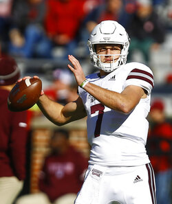 Mississippi State quarterback Nick Fitzgerald (7) warms up before an NCAA college football game against Alabama, Saturday, Nov. 10, 2018, in Tuscaloosa, Ala. (AP Photo/Butch Dill)
