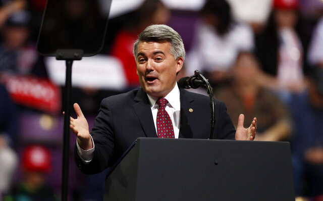 Sen. Cory Gardner, R-Colo., speaks before an appearance by President Donald Trump at a campaign rally Thursday, Feb. 20, 2020, in Colorado Springs, Colo. (AP Photo/David Zalubowski)