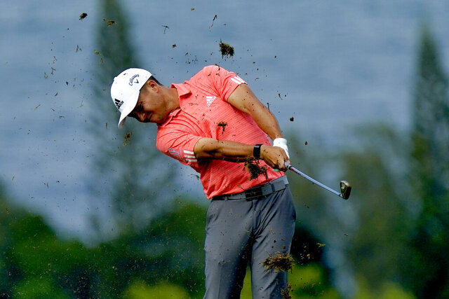 Xander Schauffele hits from the fourth fairway during second round of the Tournament of Champions golf event, Friday, Jan. 3, 2020, at Kapalua Plantation Course in Kapalua, Hawaii. (AP Photo/Matt York)