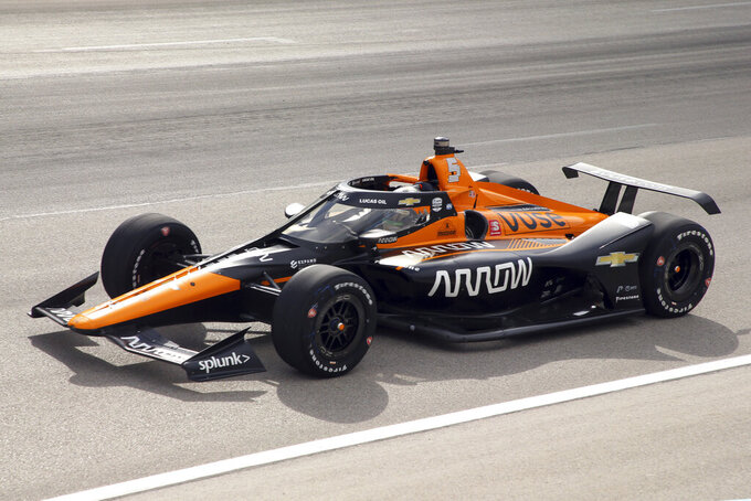 FILE - Pato O'Ward competes during an IndyCar Series auto race at Texas Motor Speedway in Fort Worth, Texas, in this Sunday, May 2, 2021, file photo. O'Ward, like Alex Palou, a two-time winner this season, earned his first career victory in May at Texas Motor Speedway and the Mexican has not finished lower than fourth in three oval races this season. (AP Photo/Richard W. Rodriguez, File)