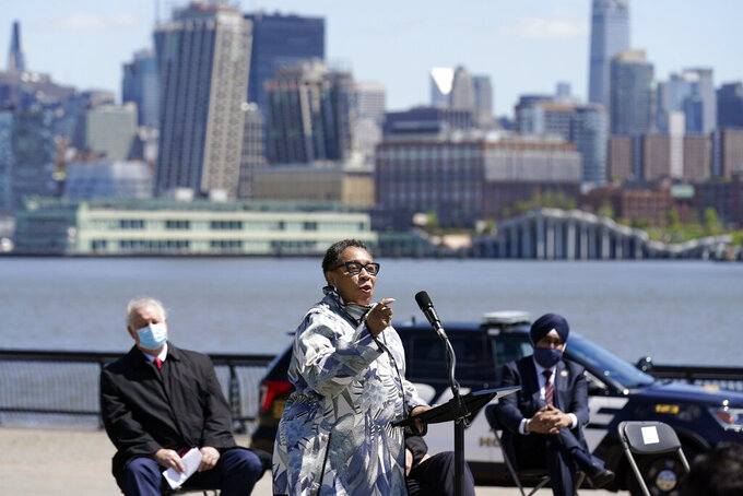 Housing and Urban Development Secretary Marcia Fudge speaks during a news conference in Hoboken, N.J., Thursday, May 6, 2021. More than eight years after Superstorm Sandy overwhelmed the New York City area, Hoboken is breaking ground on a flood resiliency project that is part of a $230 million plan funded by the U.S. Department of Housing and Urban Development. (AP Photo/Seth Wenig)
