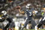 Central Florida quarterback Brandon Wimbush (3) throws the ball during the first half of an NCAA college football game against Florida A&M, Thursday, Aug. 29, 2019, in Orlando, Fla. (AP Photo/Willie J. Allen Jr.)