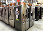 In this Tuesday, April 23, 2019 photo, refrigerators are shown for sale at a Home Depot store in Miami Lakes, Fla. On Thursday, April 25, the Commerce Department releases its March report on durable goods. (AP Photo/Wilfredo Lee)