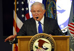 Attorney General Jeff Sessions speaks about the opioid and fentanyl crisis, Thursday, July 12, 2018, in Concord, N.H. (AP Photo/Robert F. Bukaty)