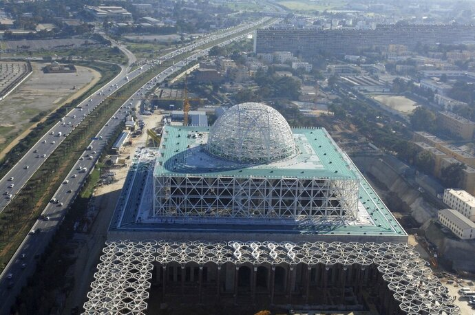 *File* In this Saturday, Jan. 7, 2017 file photo, the Mosque of Algiers is under construction in Algiers. Algeria's prime minister is finally to inaugurate a landmark mosque Wednesday that was completed last year but shuttered because of coronavirus. (AP Photo/Sidali Djarboub)
