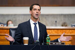 Sen. Tom Cotton, R-Ark., speaks during a Senate Armed Services Committee hearing on the conclusion of military operations in Afghanistan and plans for future counterterrorism operations, Tuesday, Sept. 28, 2021, on Capitol Hill in Washington. (AP Photo/Patrick Semansky, Pool)