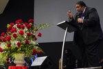 Rev. William Barber II speaks during the funeral for Andrew Brown Jr., Monday, May 3, 2021 at Fountain of Life Church in Elizabeth City, N.C. Brown was fatally shot by Pasquotank County Sheriff deputies trying to serve a search warrant. (AP Photo/Gerry Broome)