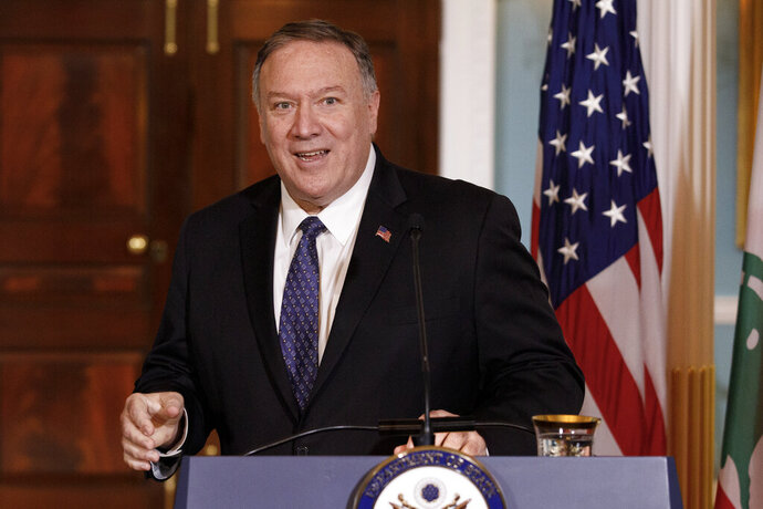 FILE - In this Thursday, Aug. 15, 2019 file photo, Secretary of State Mike Pompeo speaks to media during a news conference with Lebanese Prime Minister Saad Hariri at the State Department in Washington. Even though Pompeo has declared a Senate run to be