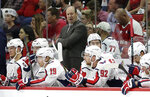 Washington Capitals coach Todd Reirden reacts during the first period of Game 3 of an NHL hockey first-round playoff series against the Carolina Hurricanes in Raleigh, N.C., Monday, April 15, 2019. (AP Photo/Gerry Broome)