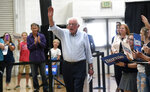Democratic presidential candidate Sen. Bernie Sanders waves during a campaign stop at the Carson City Community Center Gymnasium, Friday, Sept. 13, 2019 in Carson City, Nev. (Jason Bean/The Reno Gazette-Journal via AP)
