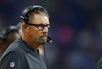 FILE - In this Aug. 30, 2018, file photo, Cleveland Browns defensive coordinator Gregg Williams watches during the first half of an NFL football game against the Detroit Lions in Detroit. Adding intrigue to the upcoming matchup between the New Orleans Saints and the Browns is the return of Williams to the city where he helped win a title in 2009. (AP Photo/Paul Sancya, File)