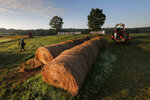 In this Thursday Aug. 15, 2019 photo, dairy farmer Fred Stone walks to his baling machine at his dairy farm in Arundel, Maine. (AP Photo/Robert F. Bukaty)
