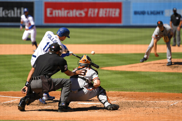 Los Angeles Dodgers' A.J. Pollock, left, hits a three-run home run as San Francisco Giants relief pitcher Tyler Rogers, right, watches along with catcher Tyler Heineman, second from right, and home plate umpire Adam Hamari during the seventh inning of a baseball game Sunday, Aug. 9, 2020, in Los Angeles. (AP Photo/Mark J. Terrill)
