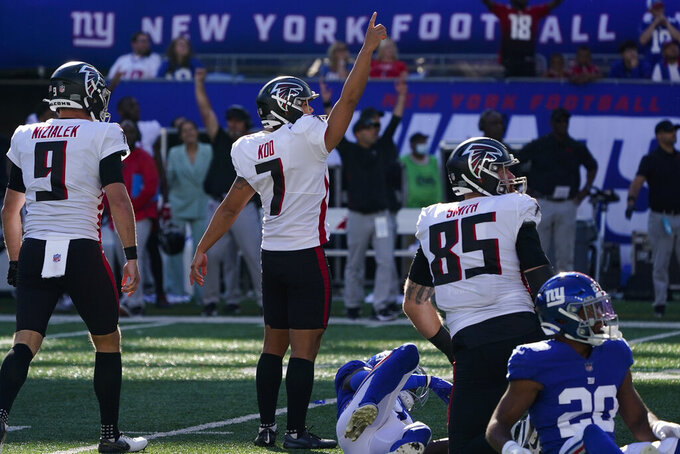 Atlanta Falcons kicker Younghoe Koo (7) celebrates after kicking the game-winning field goal during the first half of an NFL football game against the New York Giants, Sunday, Sept. 26, 2021, in East Rutherford, N.J. (AP Photo/Seth Wenig)