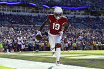 Arizona Cardinals wide receiver KeeSean Johnson scores a two-point conversion in the second half of an NFL football game against the Baltimore Ravens, Sunday, Sept. 15, 2019, in Baltimore. (AP Photo/Gail Burton)