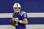 Indianapolis Colts quarterback Philip Rivers throws before an NFL football game against the Green Bay Packers, Sunday, Nov. 22, 2020, in Indianapolis. (AP Photo/AJ Mast)